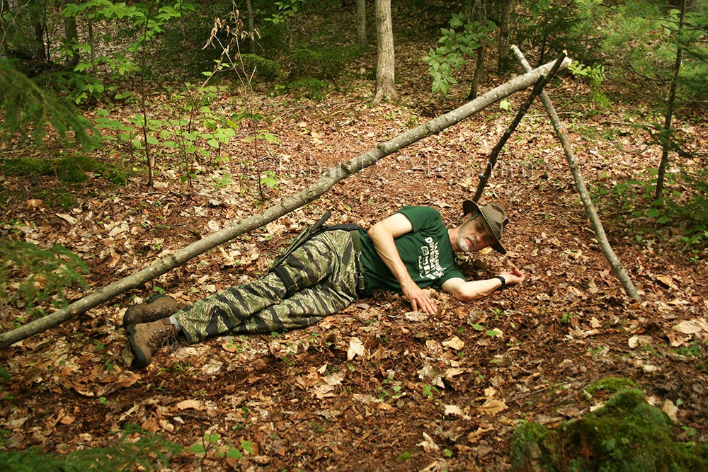 Survival Resources > Natural A-Frame Shelter - Adirondack Style