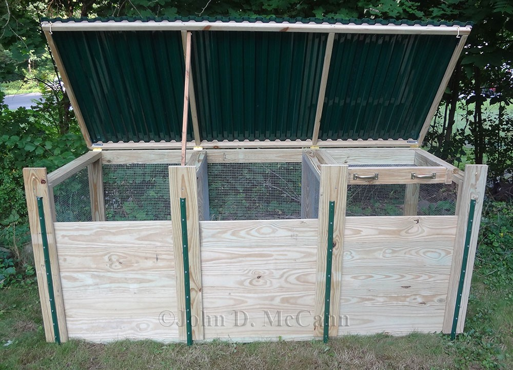 a view of the front with the top open the screen sifter can be seen at right