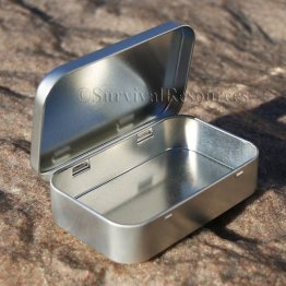 "Silver Hinged Tin 3-3/4""x2-3/8""x3/4"""
