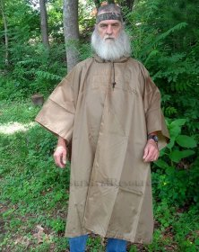 This shows the coyote brown poncho being worn.