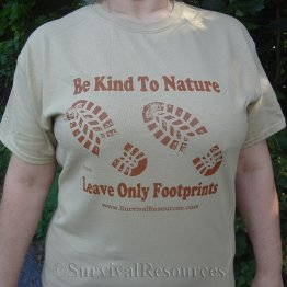 Footprints T-Shirt - Brown on Tan