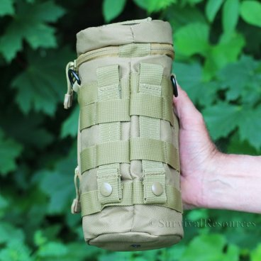 Close-up on MOLLE straps.