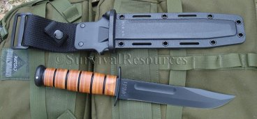 Kabar USMC Fighting Knife - Leather - Standard Edge