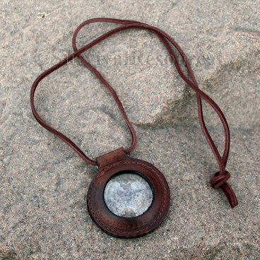 Leather Rimmed Magnifying Glass Lens
